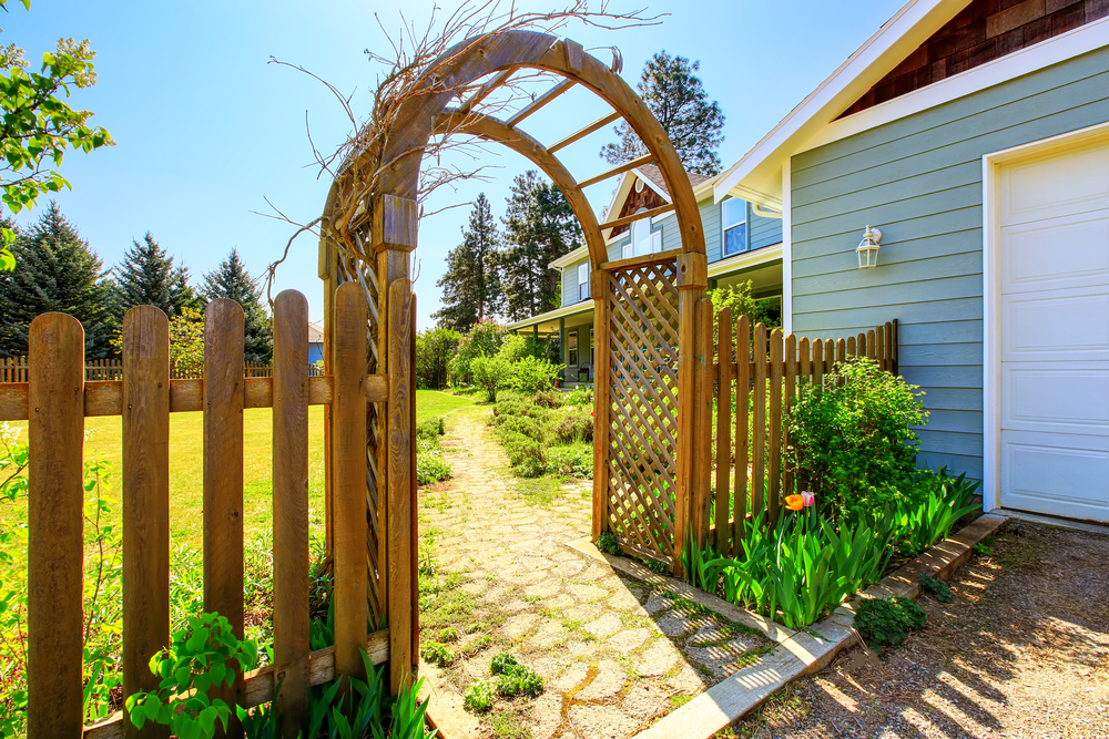 spring landscaping ideas wooden arbor