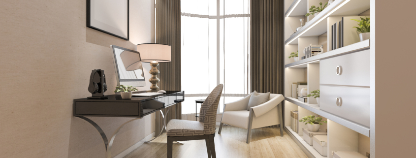 2020 home office trends built in shelves and layered lighting