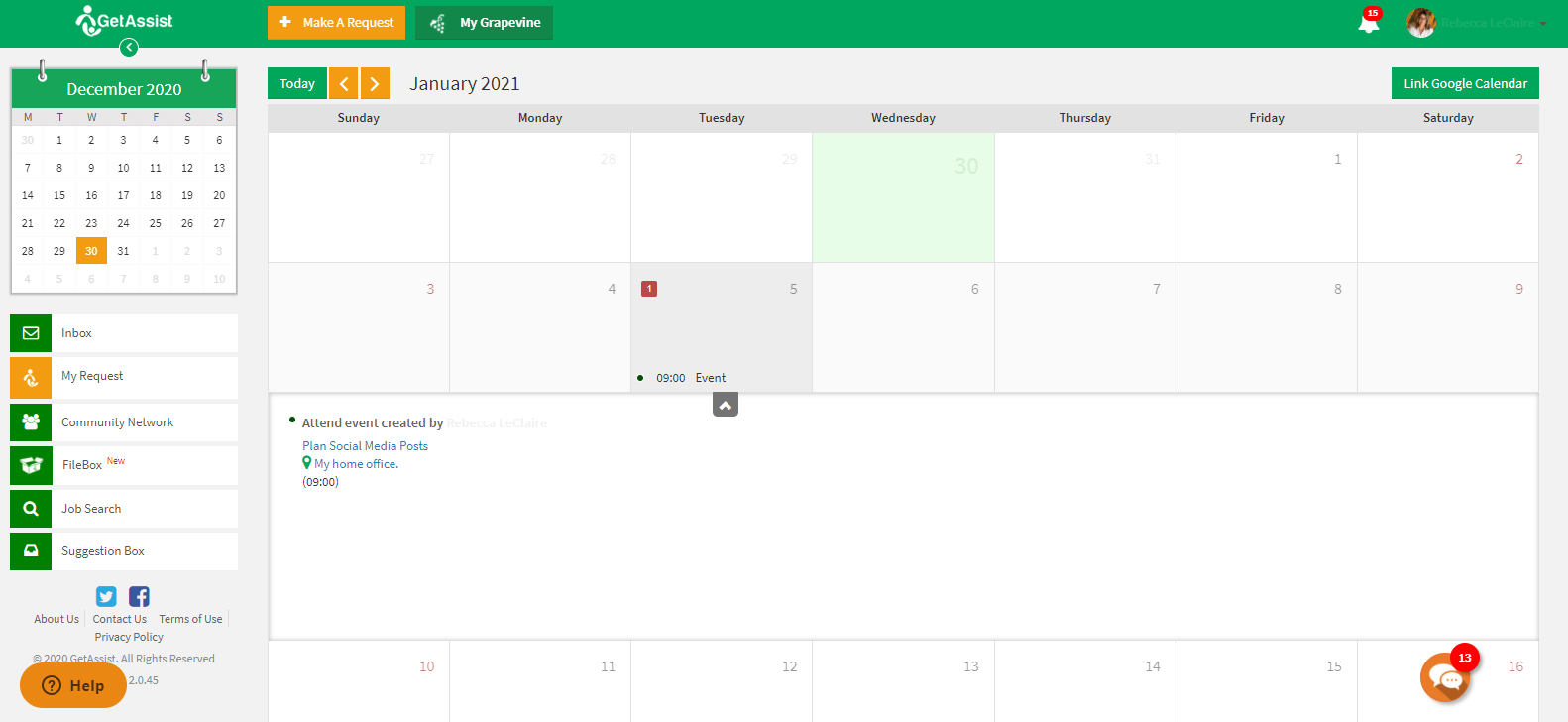 shared calendar to schedule tasks with team